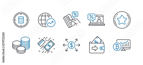 Obraz na plátně  Set of Finance icons, such as Credit card, Loyalty star, Dollar exchange, Payment, Tips, Wallet, World statistics, Calculator target, Online loan, Bitcoin chart line icons