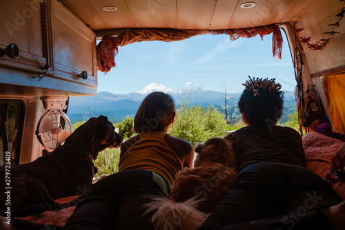 Fotografie, Obraz  View of Mountains from camper van