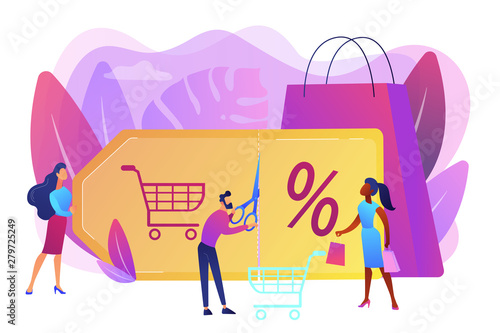 Fototapeta Customer attraction marketing. Shopping sale. Rewards scheme. Markdown program, promotional discount program, lowest price guarantee concept. Bright vibrant violet vector isolated illustration obraz