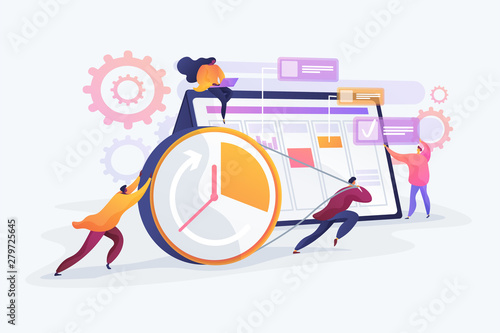Obraz Workflow organization. Teamwork process. Deadlines respect. Efficient workday. Time management, effective time spending, time planning concept. Vector isolated concept creative illustration. - fototapety do salonu