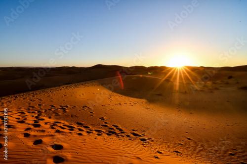 Foto op Canvas Marokko sunset in desert, photo as background