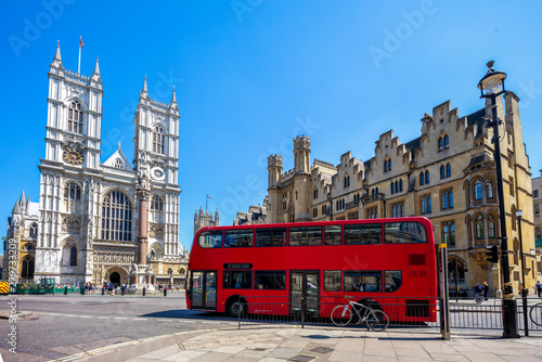 Canvas Prints London red bus street view of london, uk