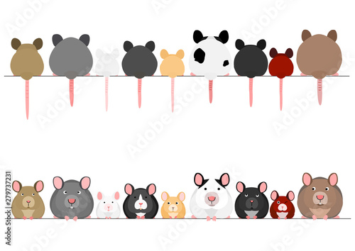 Obraz na plátně cute mice and rats in a row