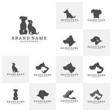 Set Of Dog Logo Design Vector Template. Dog Icon Logo Vector
