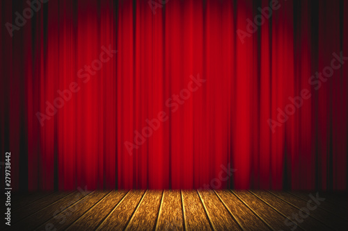 In de dag Theater Theater red curtain on stage wooden floor entertainment background, Red curtain.