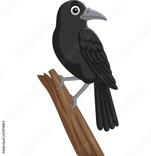 Fotografija Cartoon crow standing on a tree branch