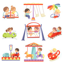 Cute Boys And Girls Having Fun At Carousels And Attractions In Amusement Park Set Vector Illustration