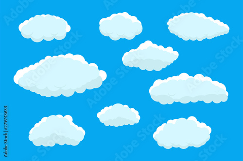 Foto op Plexiglas Hemel Set of clouds. Abstract blue summer clouds.Weather clouds collection isolated on blue background.