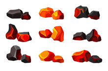 Set Of Various Coals. Vector Illustration On White Background.