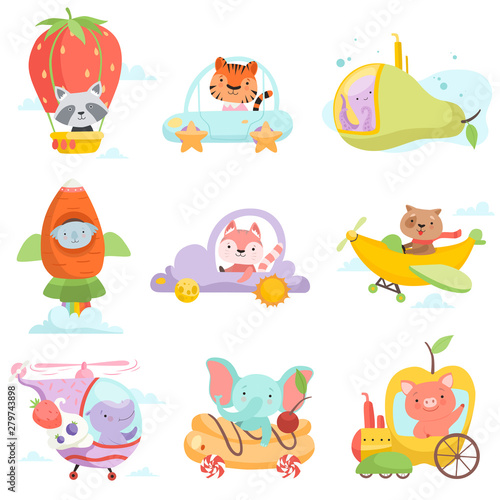 Photo Cute Baby Animals in Transport Set, Raccoon, Tiger, Octopus, Koala Bear, Fox, Do