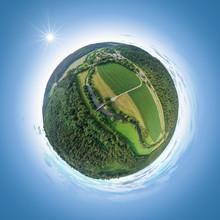Little Planet Of The River Neckar Near Neckarhausen Germany