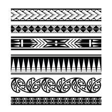 Ethnic Ornament Tribal Band, Tribal Pattern Tattoo, Aboriginal Samoan Band, Maori Seamless Art Bracelets Ornament, Polynesian Line Tattoo Pattern, Maori Black And White Texture Border