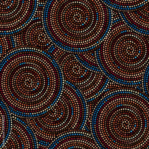 Obraz Grunge polka dot pattern on black background. Vector seamless image. - fototapety do salonu