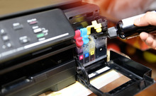 Refill Ink Tank Printer At Office - Close Up Printer Cartridge Inkjet Of Color Black CMYK And Repair Fix The Problem Concept , Selective Focus