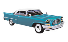 Vintage Blue Car On White Background.