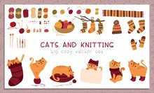 Knitting And Pets Flat Vector Stickers Set. Adorable Cats Wearing Woolen Handmade Knitwear Cartoon Characters. Cute Playful Kittens With Yarn Balls Hand Drawn Illustrations For Scrapbook Collection