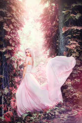 Photo Beauty romantic young woman in long chiffon dress with gown posing in fantasy misty forest