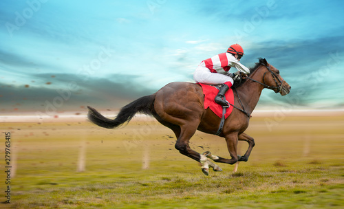 Poster Paarden Race horse with jockey on the home straight. Shaving effect.