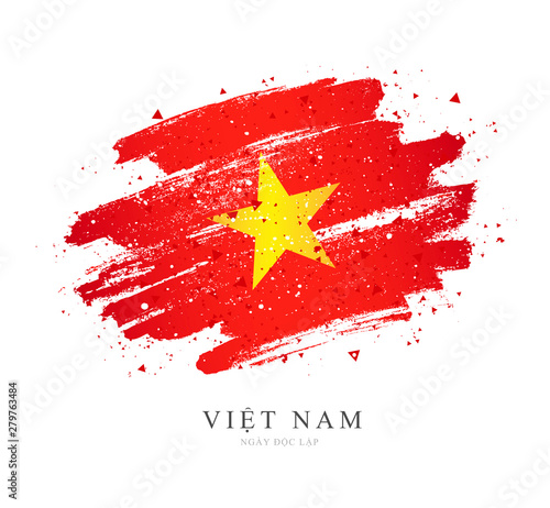 Flag of Vietnam. Vector illustration on white background. Canvas Print