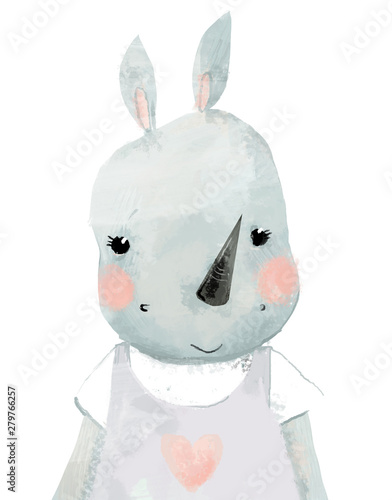 Plissee mit Motiv - cute naive portrait of little watercolor girl rhino
