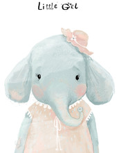 Little Watercolor Girl Elephant With Pink Dress