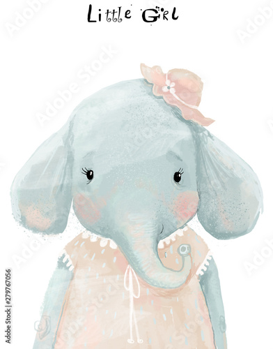 Foto-Schmutzfangmatte - little watercolor girl elephant with pink dress (von cofeee)