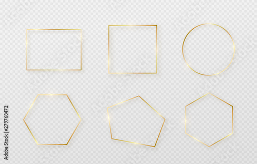 Fototapeta Golden border frame set with light shadow and light affects. Gold decoration in minimal style. Graphic metal foil element in geometric thin line rectangle shape obraz
