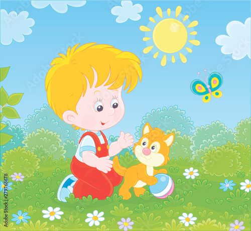 Spoed Foto op Canvas Vogels, bijen Smiling little boy playing with a small kitten among flowers on green grass of a lawn on a sunny summer day, vector illustration in a cartoon style