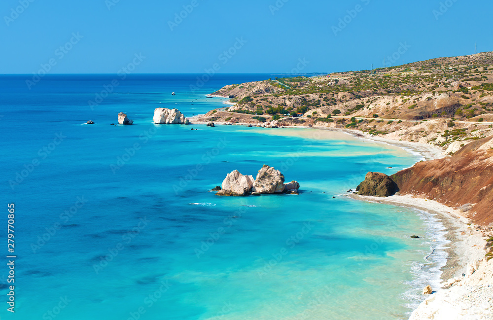 Fototapety, obrazy: View from above on Petra tou Romiou sea stack