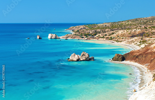 View from above on Petra tou Romiou sea stack