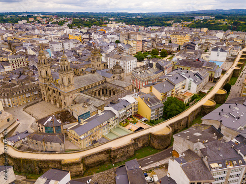 Aerial panoramic view of Lugo city with buildings and landscape