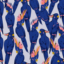 Colorful Hand Sketch Fresh Blue Cockatoo Birds Summer Vibes  Seamless Pattern In Vector On Texture Design For Fashion,fabric,web,wallpaper And All Prints