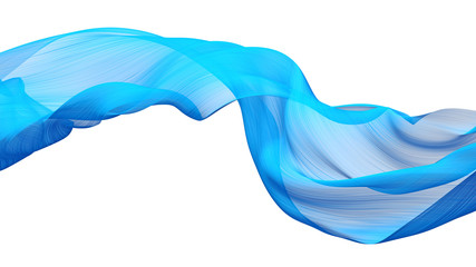 Sky-blue fabric flow cloth wave, Waving Silk Flying Textile, 3d rendering