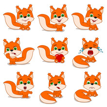 Set Of Cute Little Squirrel In Cartoon Style In Different Poses And Emotions Isolated On White Background