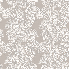 Seamless Pattern With Marine Plants. Corals And Algae. Watercolor Pattern. Suitable For Textile Design, Paper, Wedding Decor.