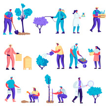 Set Of Flat Farmers, Beekeepers, Gardeners Characters. Cartoon Growing And Care Of Plants In Garden Or Greenhouse, Planting Trees, Collect Crop On Farm. Vector Illustration.