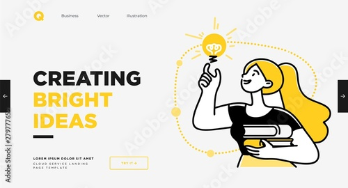 Obraz Presentation slide template or landing page website design. Business concept illustrations. Modern flat outline style. Research innovations and solutions - fototapety do salonu
