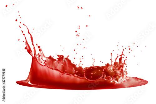 red paint splash isolated on white background Billede på lærred