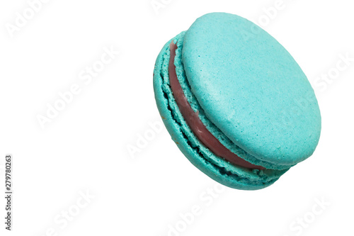 Colorful blue macaroons and coffee cup on blue table. Tableau sur Toile