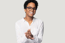 Happy Biracial Millennial Woman Laugh Isolated In Studio