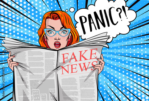 Plakaty Pop Art  pretty-woman-reading-tabloid-newspaper-with-anxious-and-scared-face-expression-fake-news-panic-shocking-stories-scaremongering-vector-illustration-in-pop-art-style