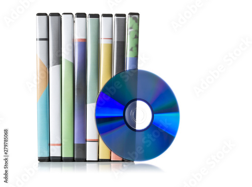 Fotografiet DVD, CD-ROM or Blu-Ray disc with stacked boxes for movies, audio or software on