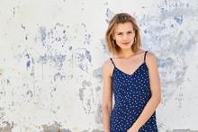 Pretty Girl Portrait In Blue Dress, Smiling