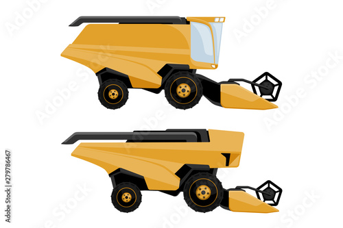 Aufkleber - Set of combine harvester: with driver and autonomous. Vector illustration EPS 10