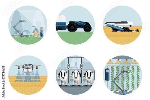 Aufkleber - Smart farm set. Modern greenhouse with robotic arm, autonomous tractor and harvester, drone-sprayer, automated milking and vertical gardening. Agriculture 4.0. Vector illustration EPS 10