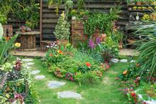 Landscaped Backyard Flower Gar...