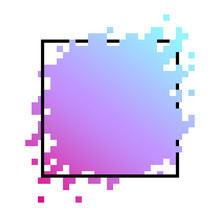 Colorful Square Pixel Banner Isolated On White.