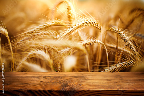 Photo  Golden ears of wheat with wooden table