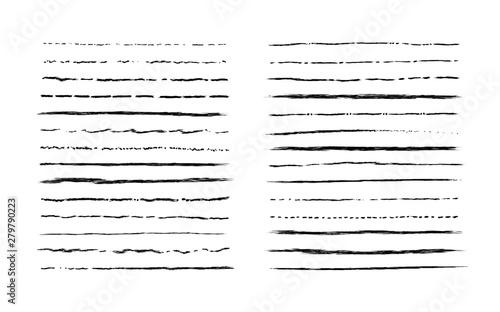 In de dag Boho Stijl Hand drawn doodle lines. Vintage underline border elements, cartoon frame set, pencil grunge decoration. Vector pen stroke sketch