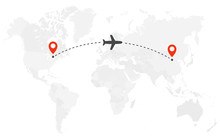 Airplane Line Path. Air Plane Flight Route With Start Point And Dash Line Trace. Plane Icon Over World Map. Vector Concept Illustration.